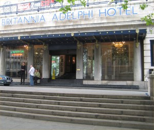 The Adelphi hotel. Regal entrance, and earthy bar downstairs.