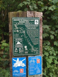Map of the number 5 cycle route, that lead back into Chester.