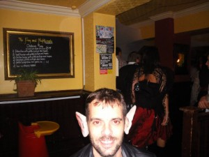 "One of the ""revellers"" at the Frog and Nightingale Halloween party."