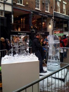 Ice carving in Chester city centre