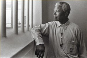 Nelson Mandela in prison at Roben Island.