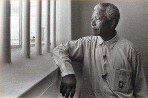 Nelson Mandela in prison at Roben Island.