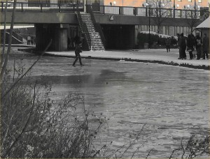 Lunatic walking across the frozen Canal.