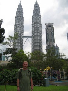 Me standing in front of the Petronus Towers