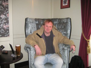 "Me sitting on the ""birthay throne""."