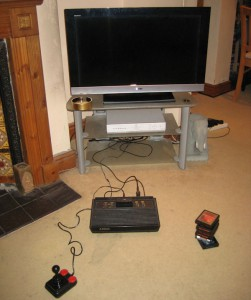 Retro 30 year old gaming with Atari.