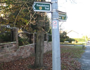 Sandstone trail sign in Frodsham.