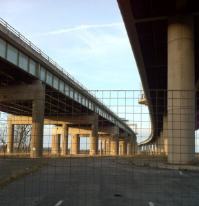 Walking under the Thelwall Viaduct.