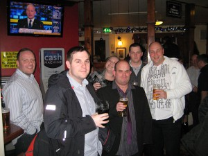 We meet up at the Waterside, with a few lads from the Warehouse.