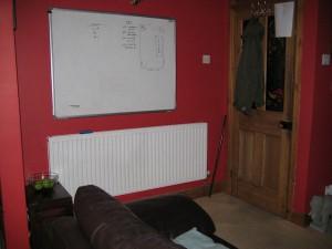 My trusty whiteboard, soon to be taken down.
