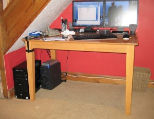 My work table, with the cables organised (oh, and I painted as well).