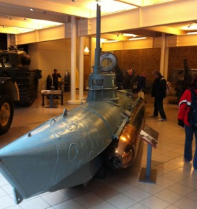 A 1 man submarine in the Imperial War Museum.