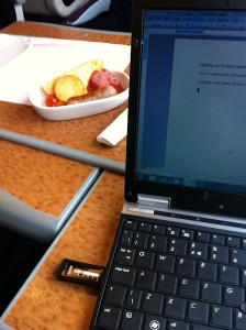 My breakfast and laptop on the First Class Pendelino to London.