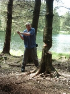Me chopping down a tree.