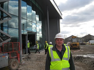 Me outside our new building