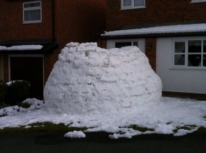 Igloo outside someone house
