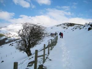 The walk continue uphill through deep snow