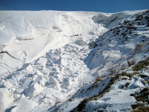 The snowdrift viewed from the bottom of the hill