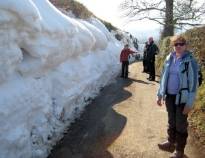 "A ""snow wall"" as we walk back to the Golden Lion at Llangynhafal"
