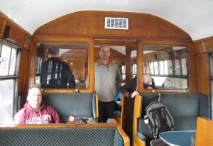 On a steam train for the first  time.