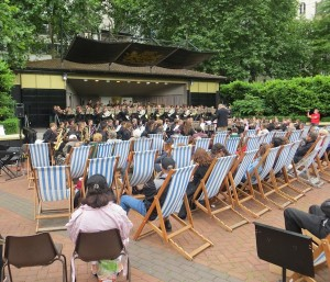 A brass band playing near Embankment