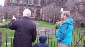 Me, Olivers Dad and Hugo at the Rememberence Garden in Chester