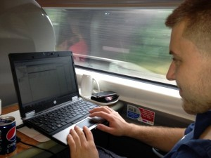 Dan on the train to London fixing a server remotely