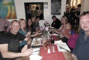 The walking group at Fouzi's Italian Cafe bar in Llangollen.
