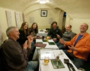 "Dinner in the Robin Hood ""bomb shelter"""