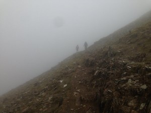 Fog and mist on Snowdon.