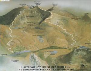 Diagram of Snowdon showing the Rhy Du path and the Snowdon Ranger