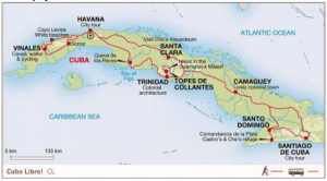 Map of our journey across Cuba