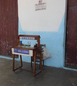 A streetside radio repair business