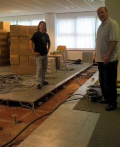 Steve and Lee cabling the warehouse