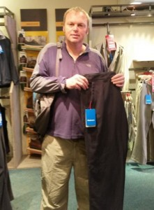 Buying trousers in the Rohan shop