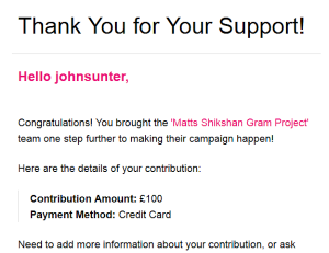 My £100 charity contribution