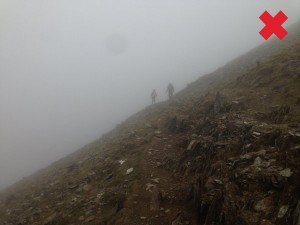 Ryd Du path in heavy fog