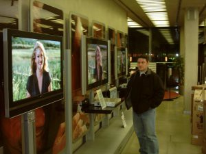 Frank in a TV shop.