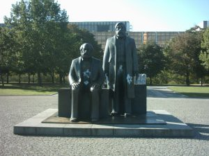 Marx and Engles statue.