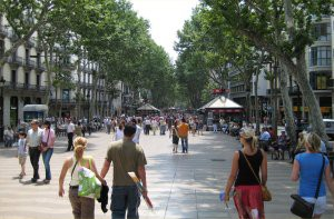 Looking down the Rambla