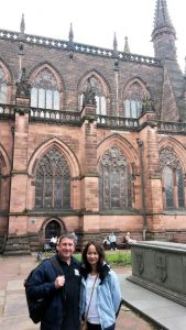 Frank and Na standing outside Chester Cathedral.