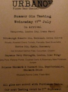 Menu and drink list for the Urbano 32 Gin tasting evening.