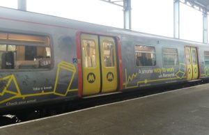 Merseyrail train at Chester railway station.