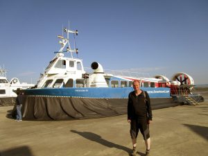 Me standing in front of a Hovercraft