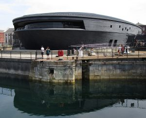 "Futuristic ""flying saucer"" building housing the Mary Rose exibition."