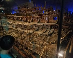 Some of the old timbers from the 500 year old Mary Rose