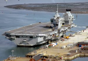 The modern aircraft carrier HMS Elizabeth at dock