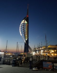 The Spinnaker tower at night. A viewing platform that overlooks the harbour