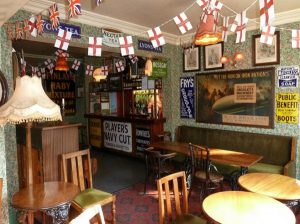Inside the Albion pub, showing memorabilia from the 2nd World War.