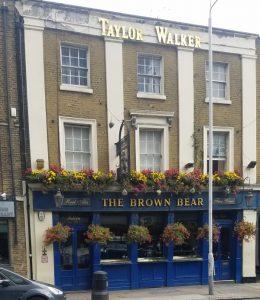 Outside the Brown Bear pub in Whitechapel.